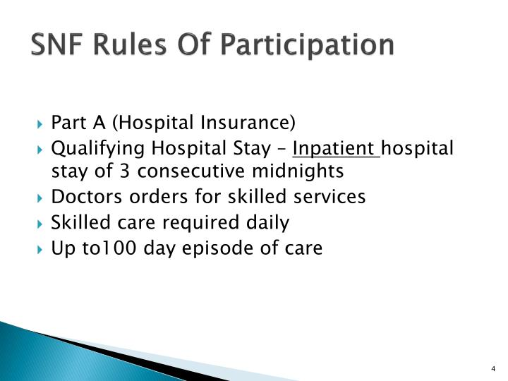 SNF Rules Of Participation