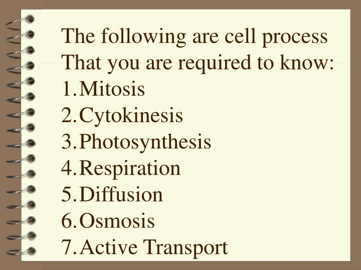 The following are cell process