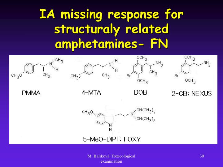 IA missing response for structuraly related amphetamines- FN