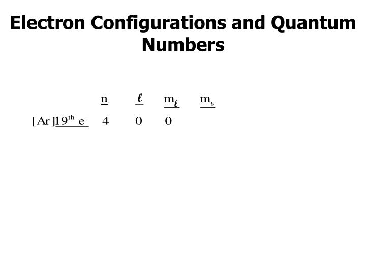 Electron Configurations and Quantum Numbers