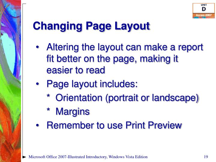 Changing Page Layout