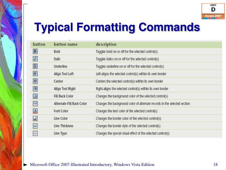 Typical Formatting Commands
