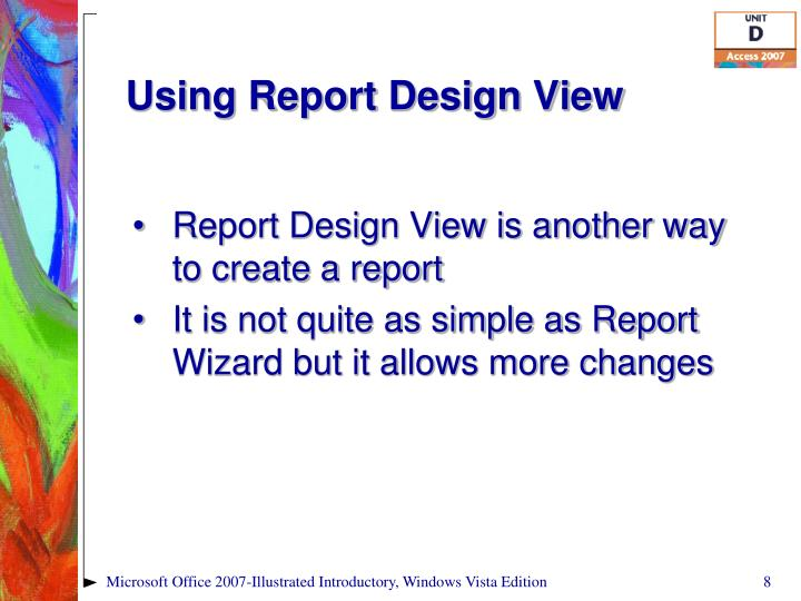Using Report Design View