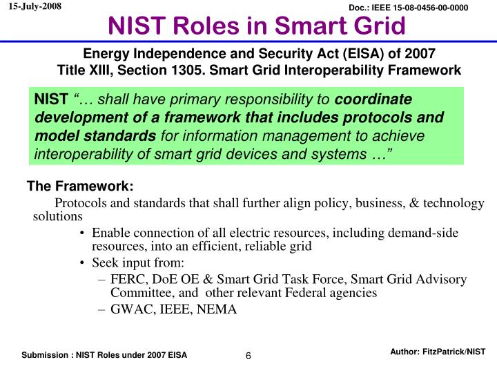 NIST Roles in Smart Grid
