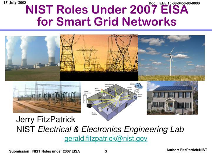 NIST Roles Under 2007 EISA for Smart Grid Networks