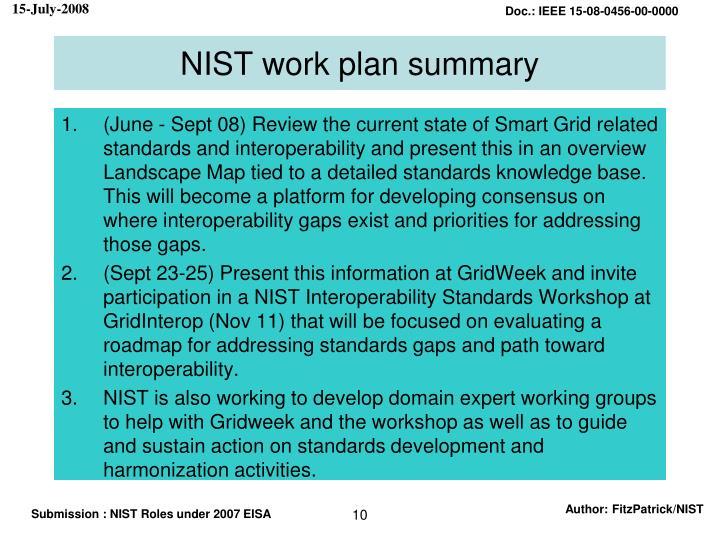 NIST work plan summary