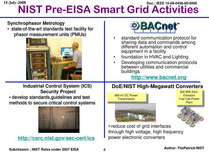 NIST Pre-EISA Smart Grid Activities
