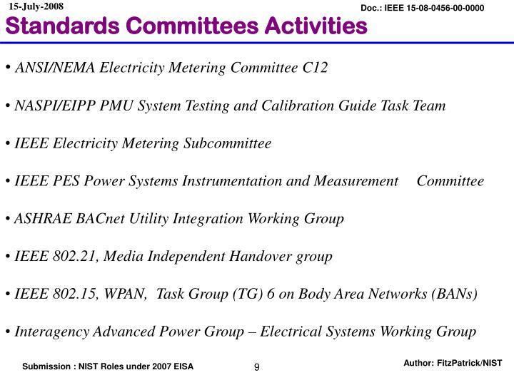 Standards Committees Activities