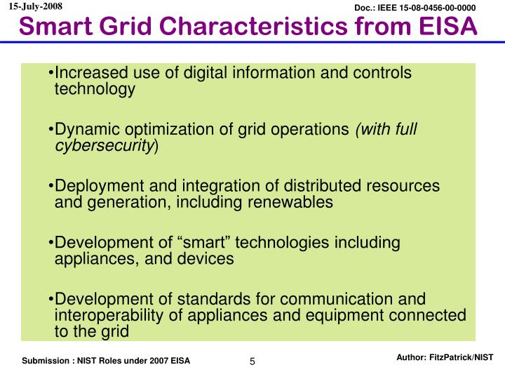 Smart Grid Characteristics from EISA