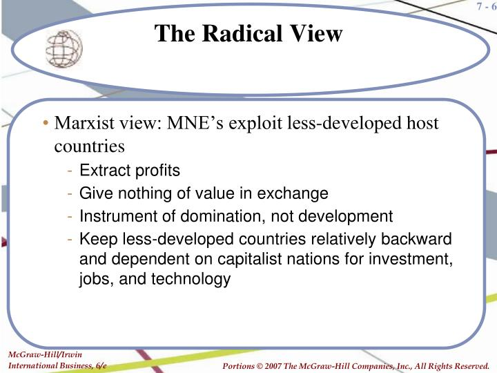 Marxist view: MNE's exploit less-developed host countries