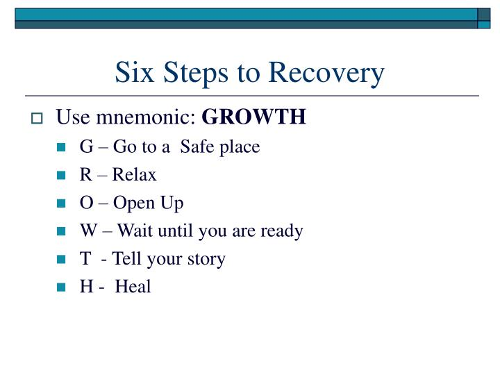 Six Steps to Recovery