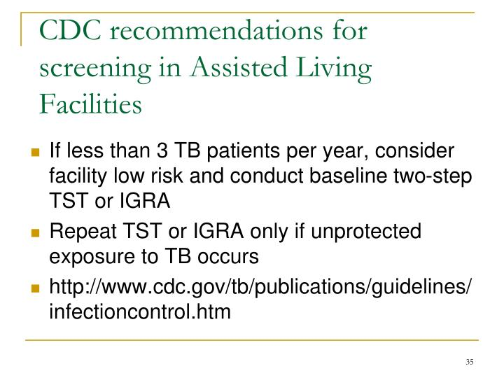 CDC recommendations for screening in Assisted Living Facilities