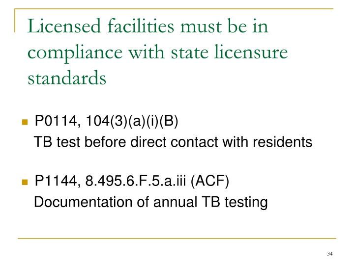 Licensed facilities must be in compliance with state licensure standards