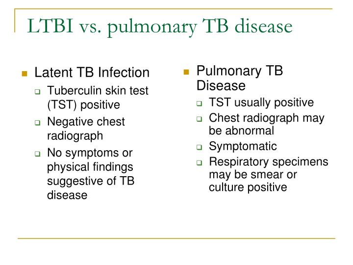 LTBI vs. pulmonary TB disease