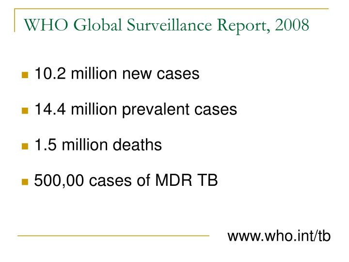 WHO Global Surveillance Report, 2008