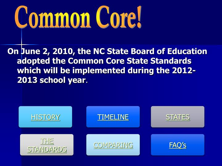 On June 2, 2010, the NC State Board of Education adopted the Common Core State