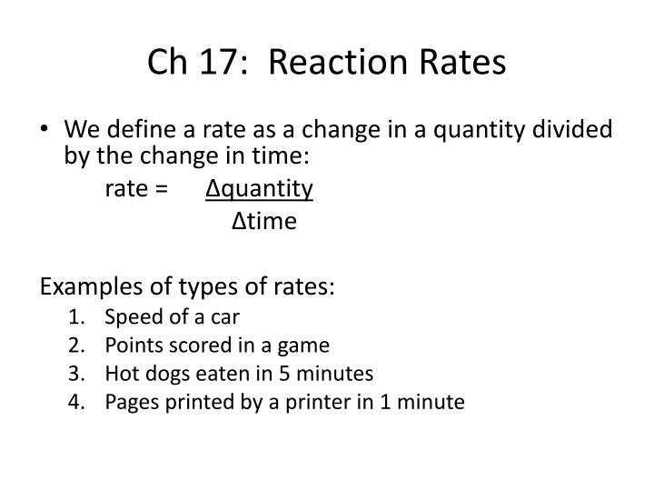 Ch 17 reaction rates