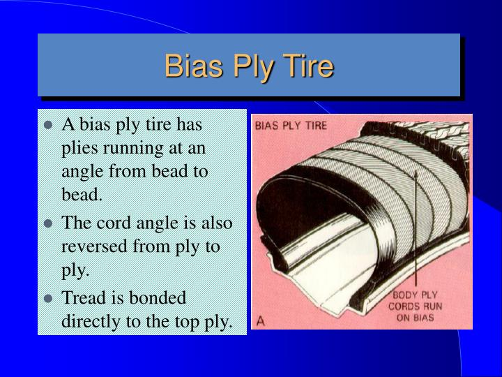 A bias ply tire has plies running at an angle from bead to bead.