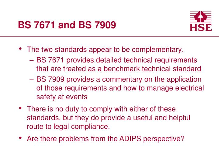 BS 7671 and BS 7909