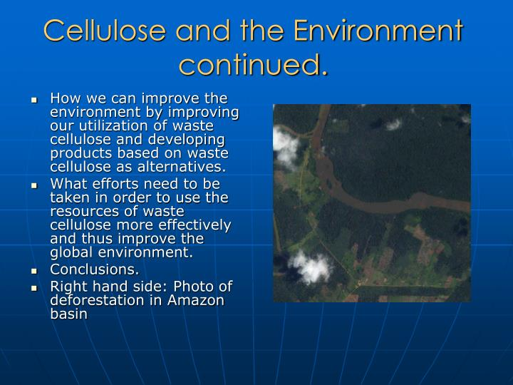 Cellulose and the Environment continued.