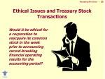 ethical issues and treasury stock transactions