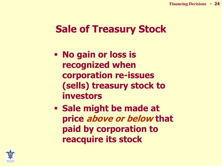 Sale of Treasury Stock