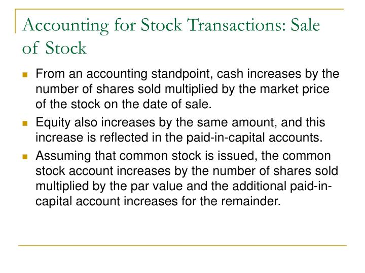 Accounting for Stock Transactions: Sale of Stock