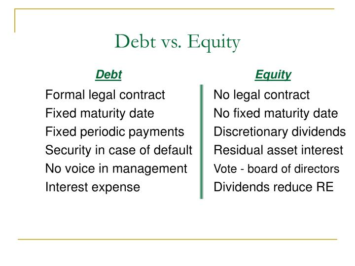 Debt vs equity
