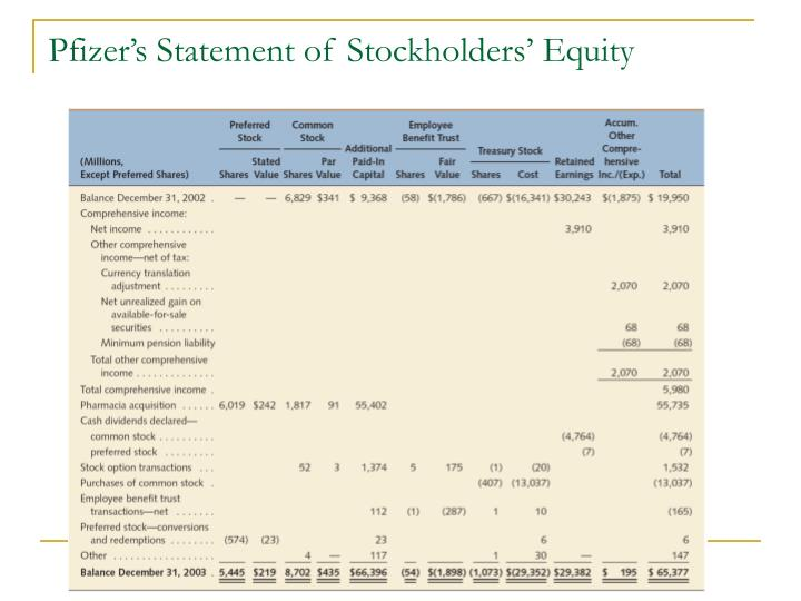 Pfizer's Statement of Stockholders' Equity