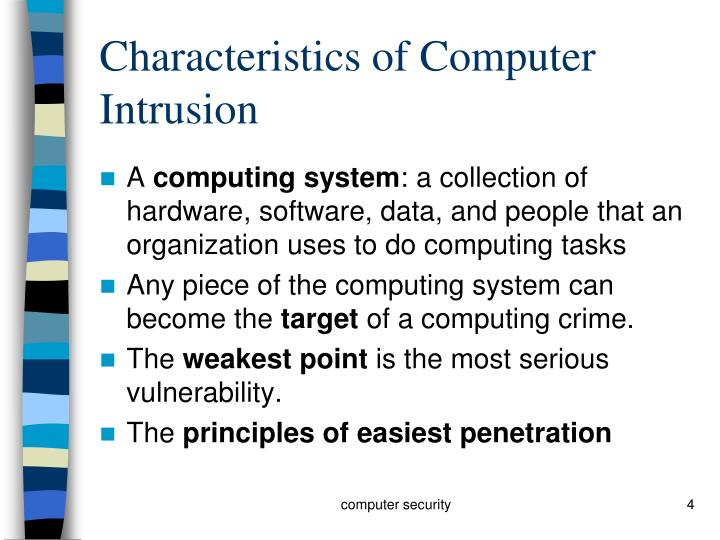Characteristics of Computer Intrusion