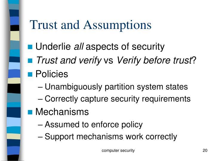 Trust and Assumptions