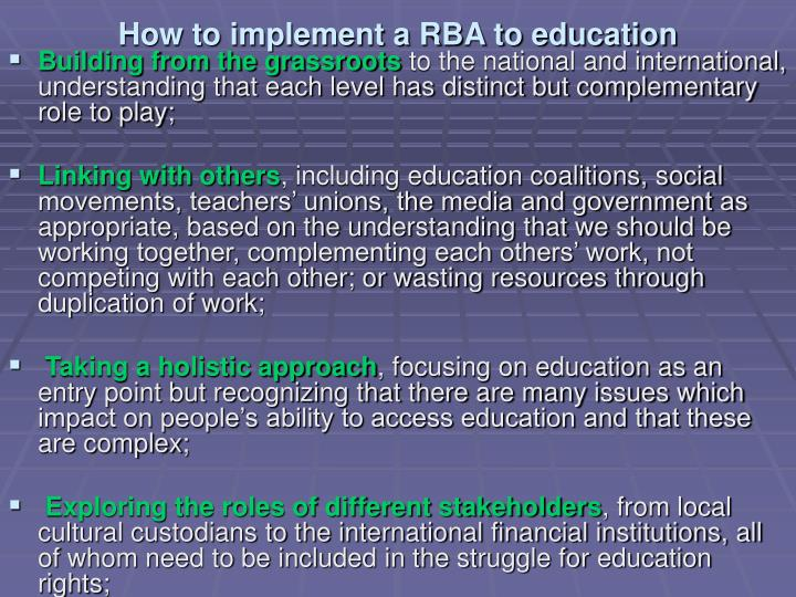 How to implement a RBA to education