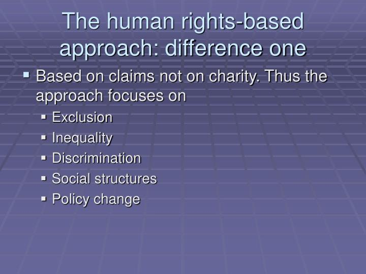 The human rights-based approach: difference one