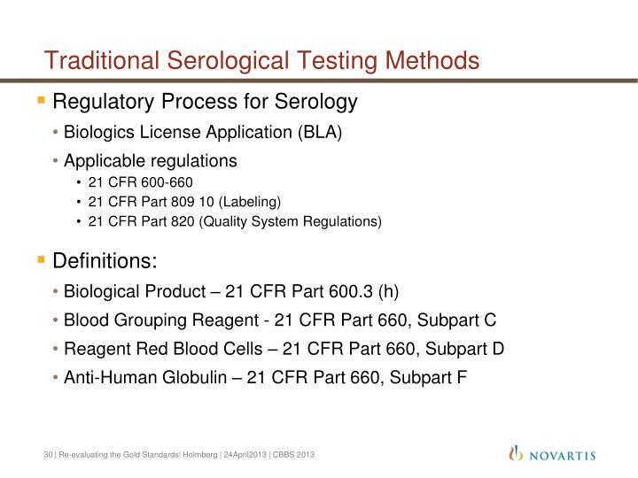 Traditional Serological Testing Methods