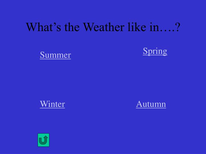 What's the Weather like in….?