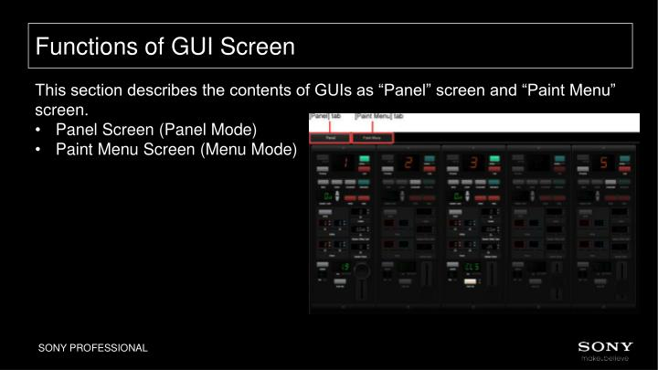 Functions of GUI Screen