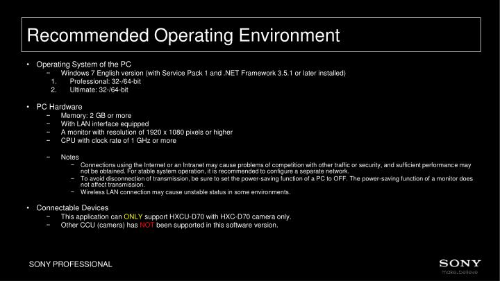 Recommended Operating Environment