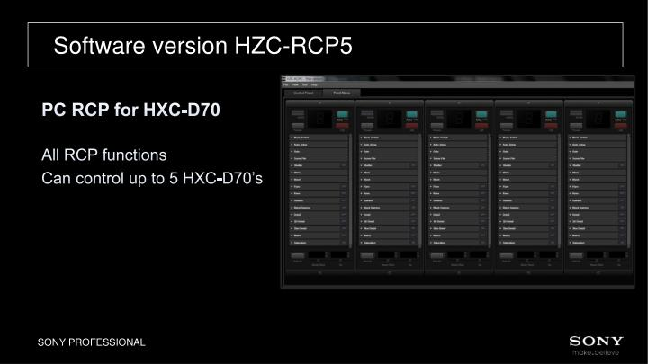 Software version HZC-RCP5