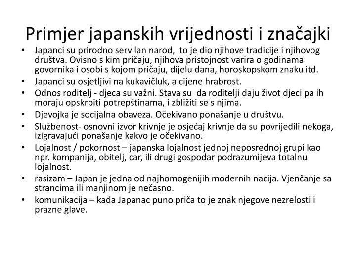 Primjer japanskih vrijednosti i značajki