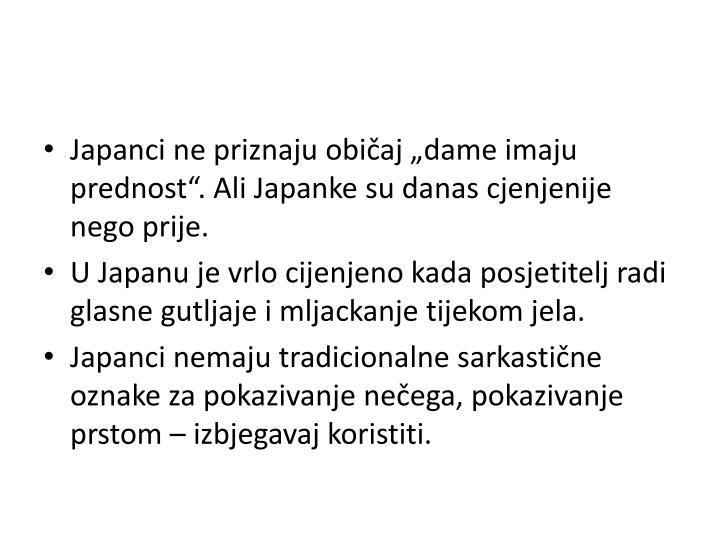 """Japanci ne priznaju običaj """"dame imaju prednost"""". Ali Japanke su danas cjenjenije  nego prije."""