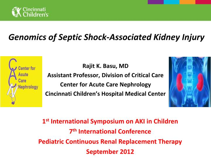 Genomics of septic shock associated kidney injury