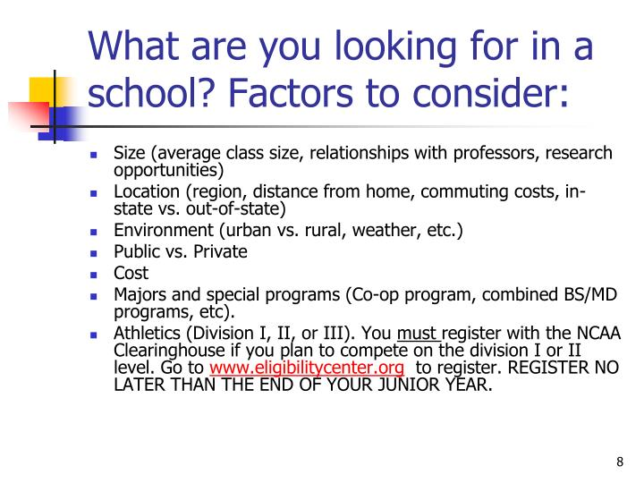Factors to consider when choosing a school or college to attend