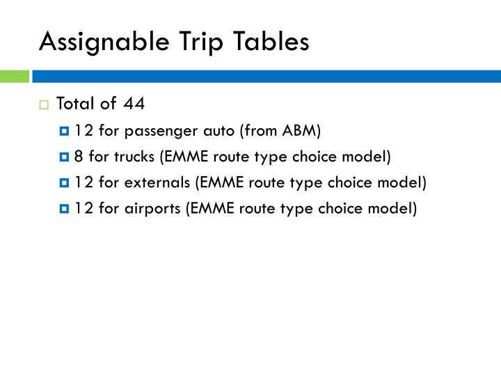 Assignable Trip Tables