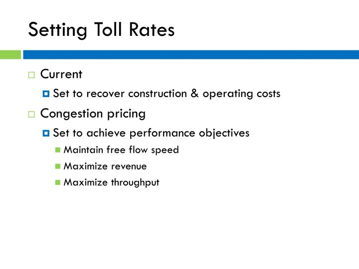Setting Toll Rates