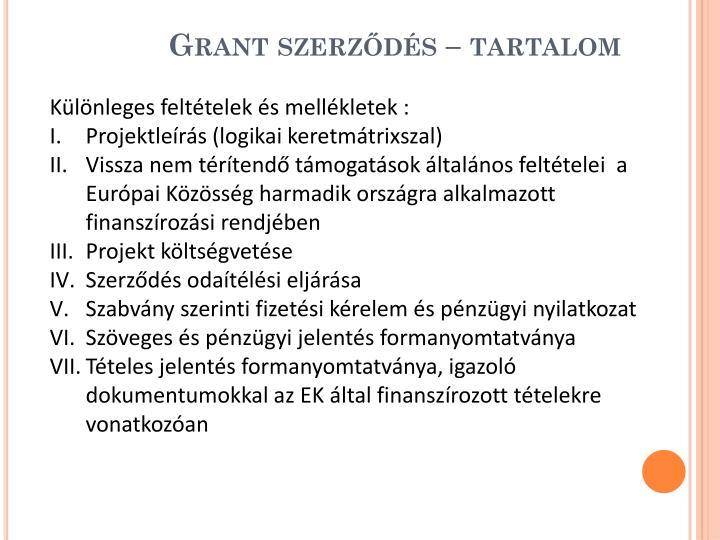 Grant szerződés – tartalom