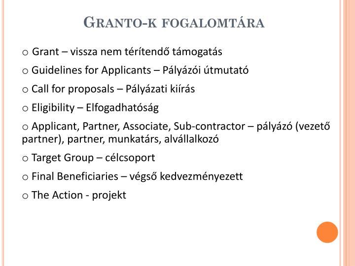 Granto-k fogalomtára