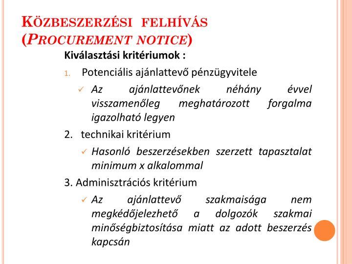 Közbeszerzési  felhívás (