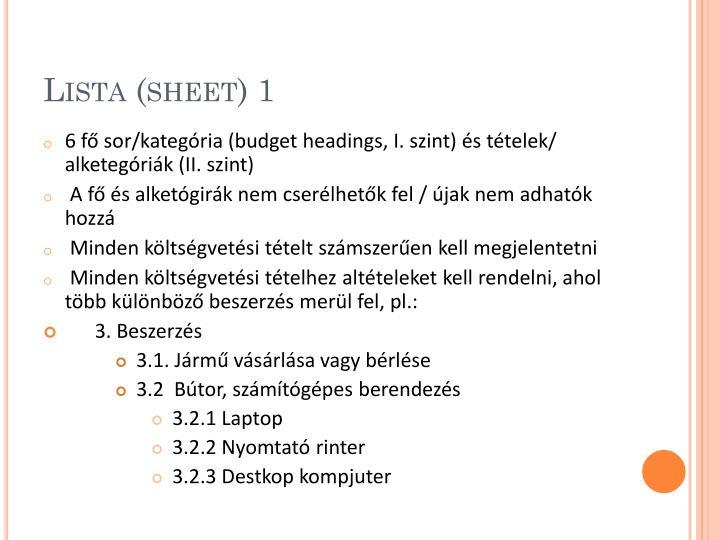 Lista (sheet) 1