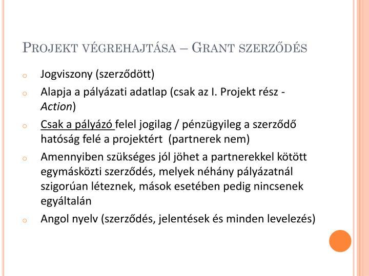 Projekt végrehajtása – Grant szerződés
