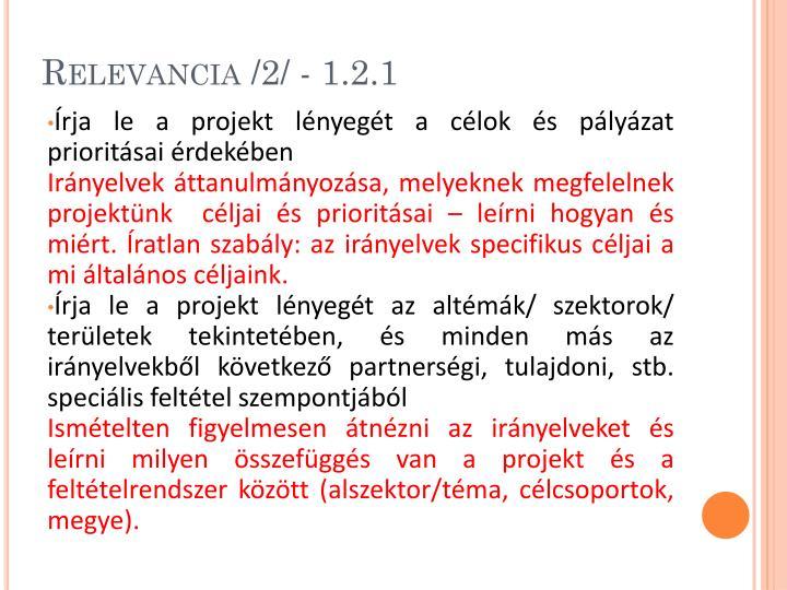 Relevancia /2/ - 1.2.1